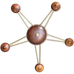 Scandinavian Brass and Walnut Five-Point Star Library Chandelier