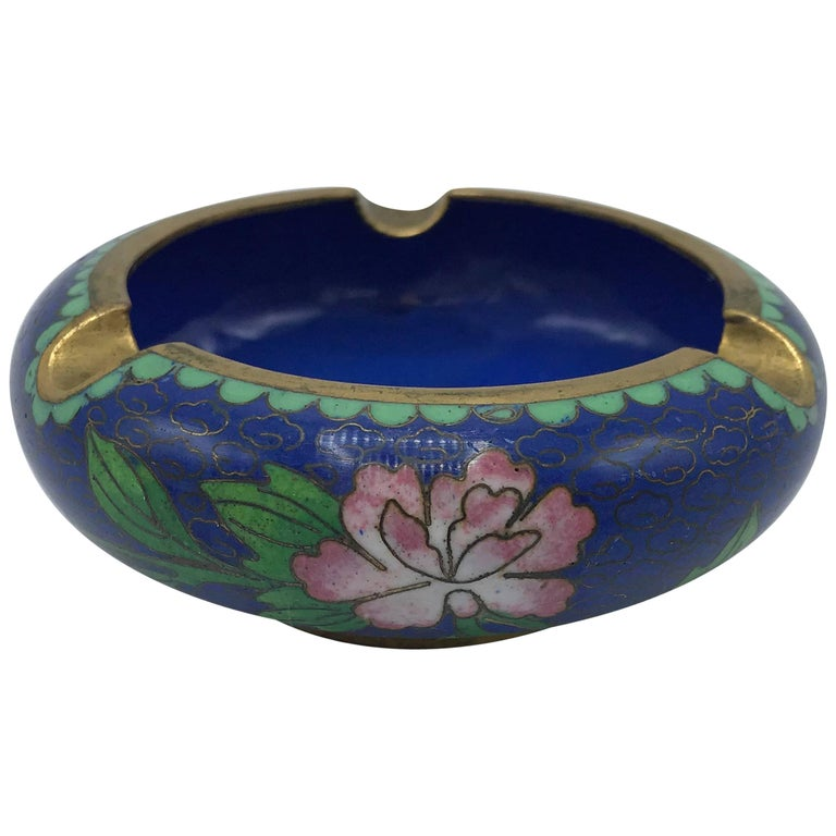 1960s Blue Cloisonné Ashtray with Brass Lip