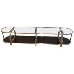 1970's French Chrome and Glass Sectional Table