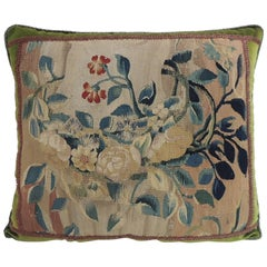 18th Century Aubusson Tapestry Square Decorative Pillow