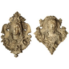 Antique French Reconstituted Stone Architectural Plaques, circa 1900