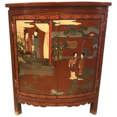 Red Lacquer Chinoiserie Corner Chinese Cabinet with Painted Detailing