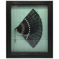 19th Century Victorian Black Sequin Hand Fan, Framed in Shadow Box
