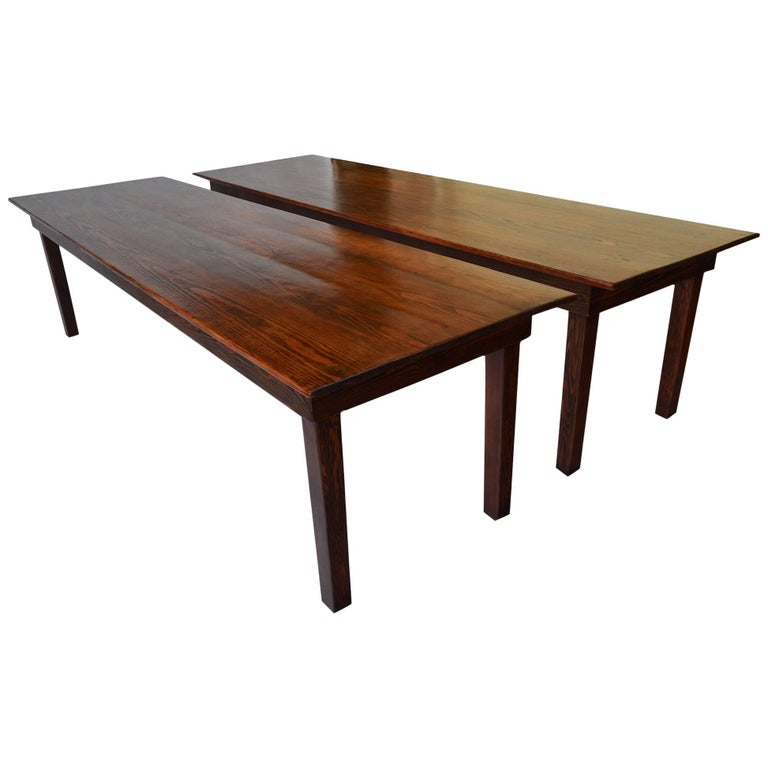 Pair of Matching Pine Wood Farmhouse Dining Tables