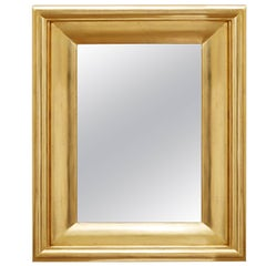 Degas No. 5 Modern Wall Mirror, Gilded in 23-Karat Yellow Gold, Bark Frameworks