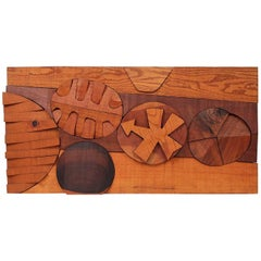 Hugh Townley Abstractly Carved Wood Relief Sculpture