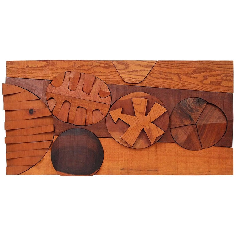 Hugh Townley Abstractly Carved Wood Relief Sculpture For Sale