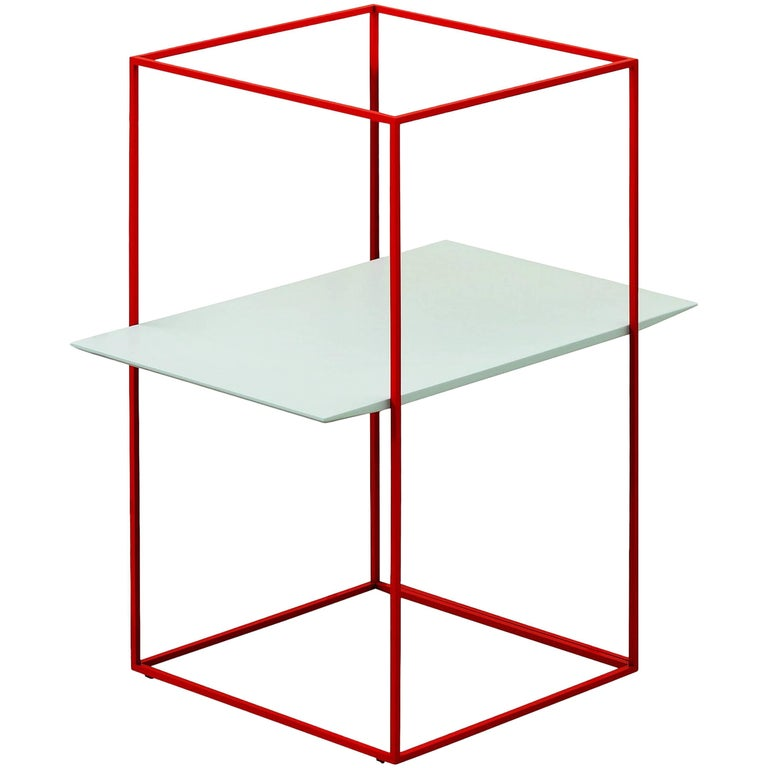 """""""TT"""" Side Table with One Rectangular Tray Designed by Ron Gilad for Adele-C"""