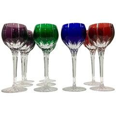 Vintage Set of Nine Bohemia Cut to Color Crystal Stem Glasses