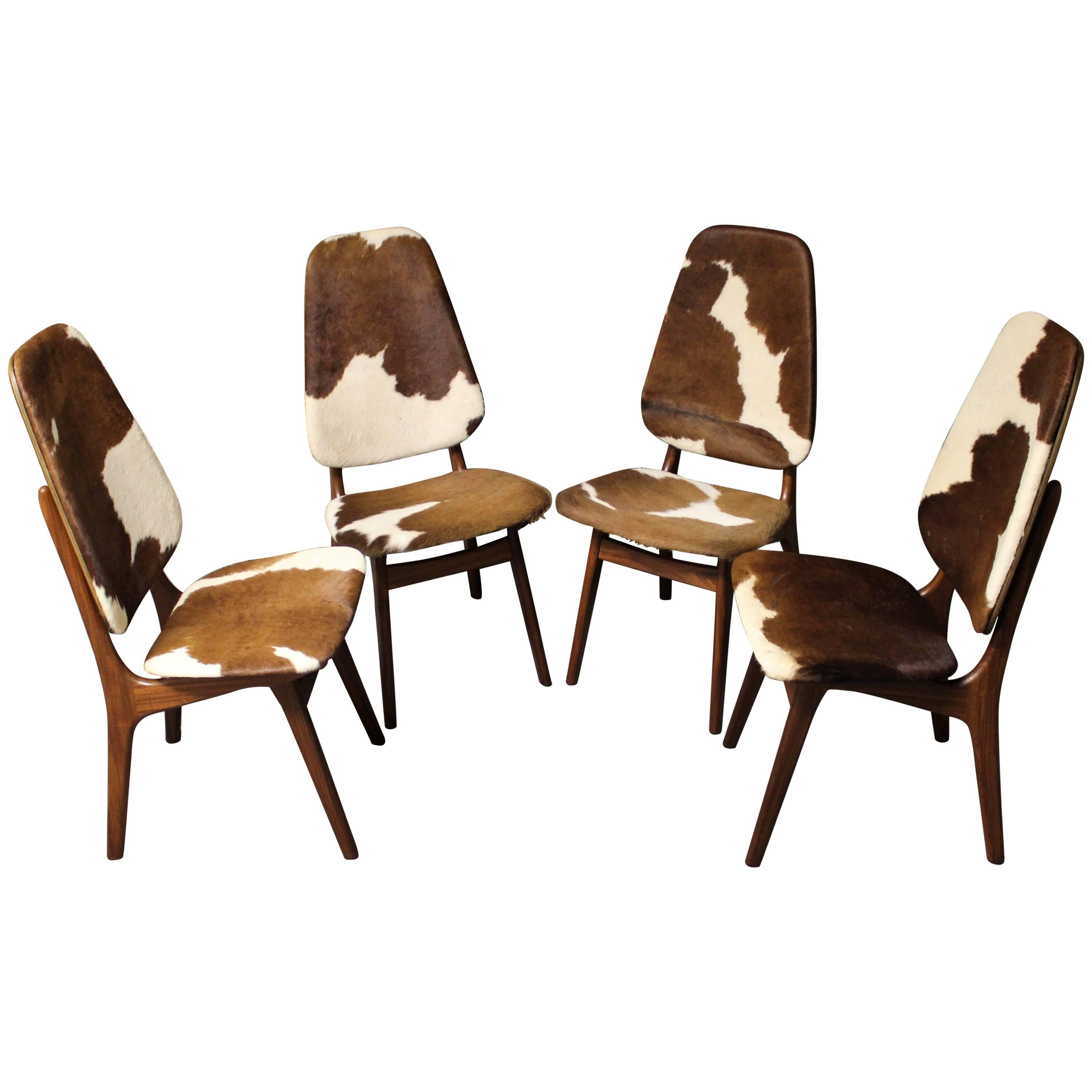 Four Arne Hovmand Olsen Danish Teak Dining Chairs With Cowhide Upholstery