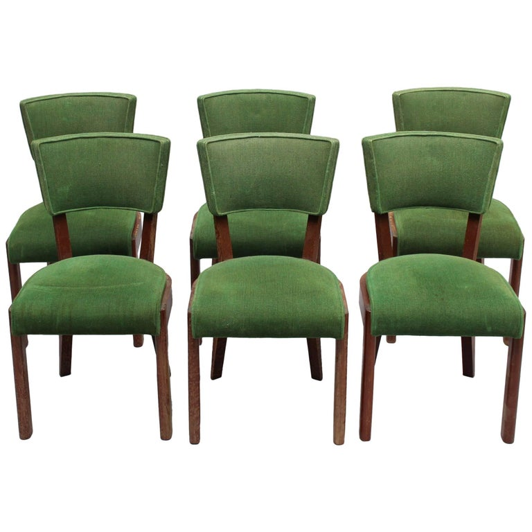 Set of Six Fine French Art Deco Oak Chairs by Charles Dudouyt 1