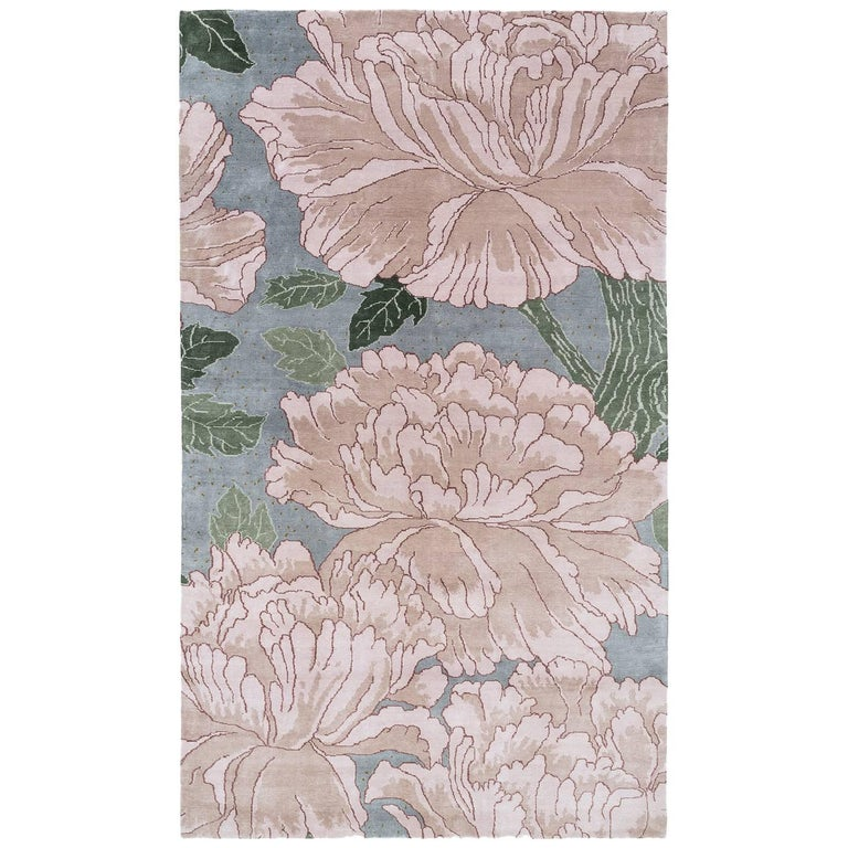 Classic Silk Floral Rug in Silver, Blue and Green by Joseph Carini - 'Mums'