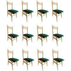 Fantastic Set of 12 Reupholstered Chairs Attributed to Ico Parisi, circa 1960