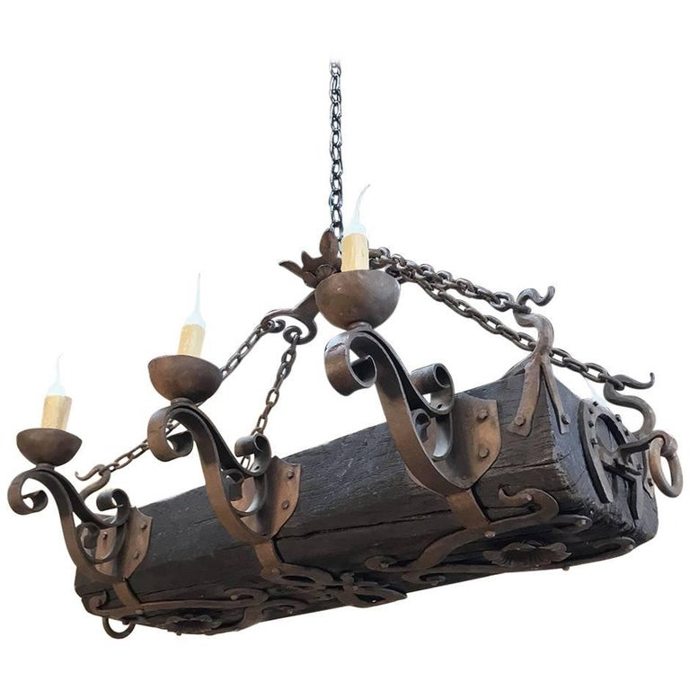 Antique Country French Wood And Wrought Iron Chandelier At