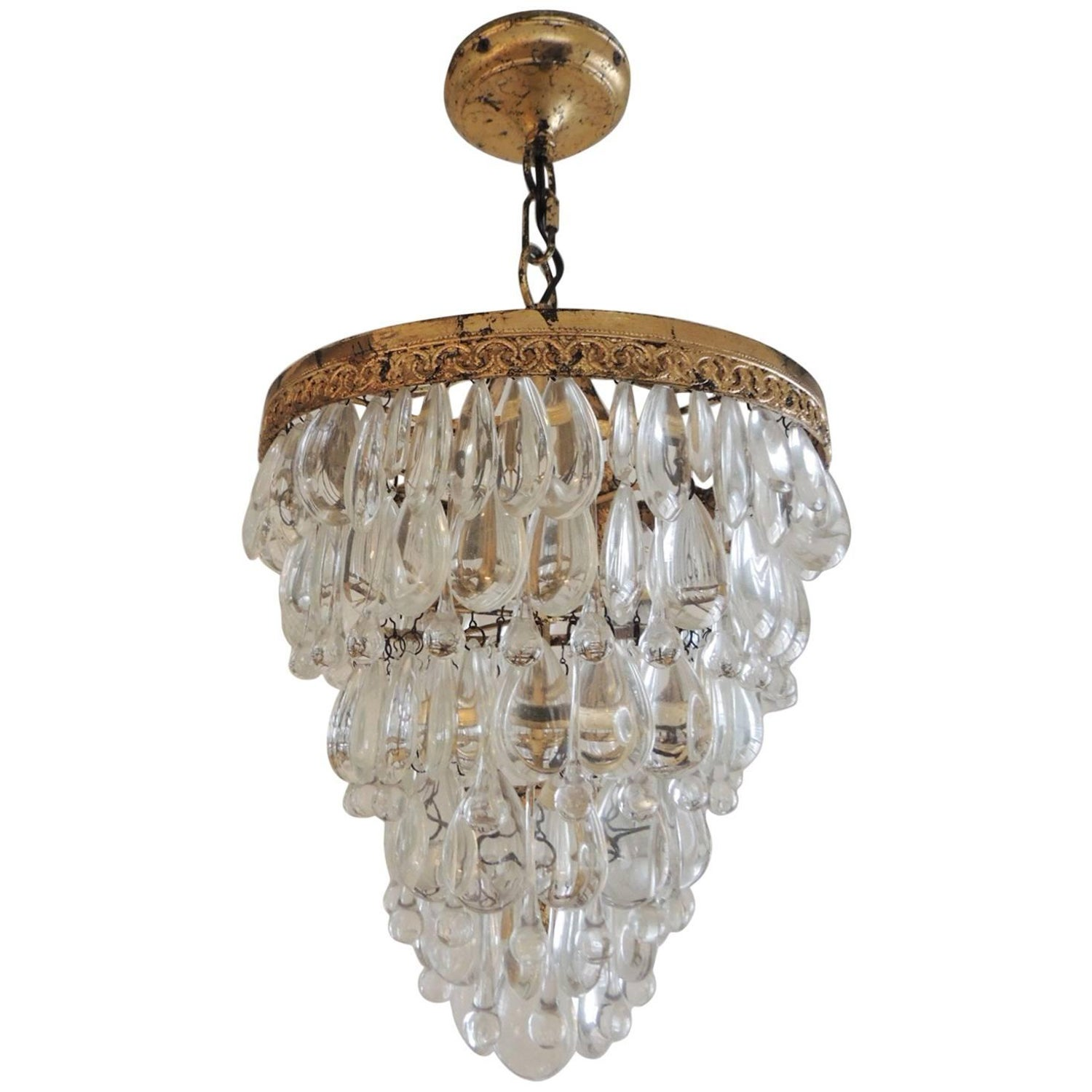 Vintage Deco Crystal Chandelier with Gold Leaf Accents 1940s at
