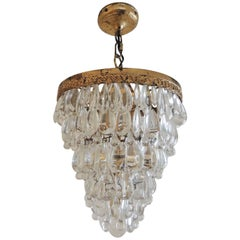Vintage Deco Crystal Chandelier with Gold Leaf Accents, 1940s