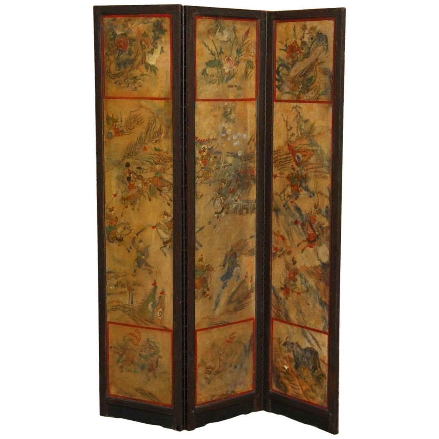 Antique japanese screens for sale - Chinese Qing Dynasty Three Panel Scroll Lacquered Screen