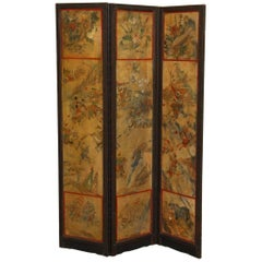 Chinese Qing Dynasty Three-Panel Scroll Lacquered Screen