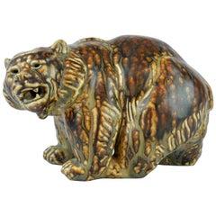 Midcentury Royal Copenhagen Large Sung Glaze Stoneware Bear by Knud Kyhn
