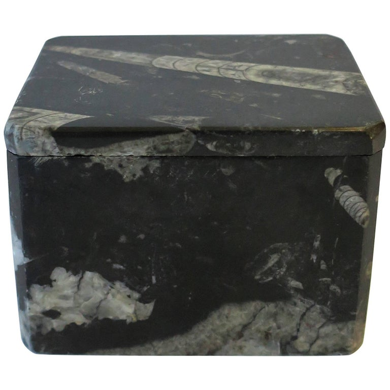 Modern Black and White Stone Jewelry Box For Sale