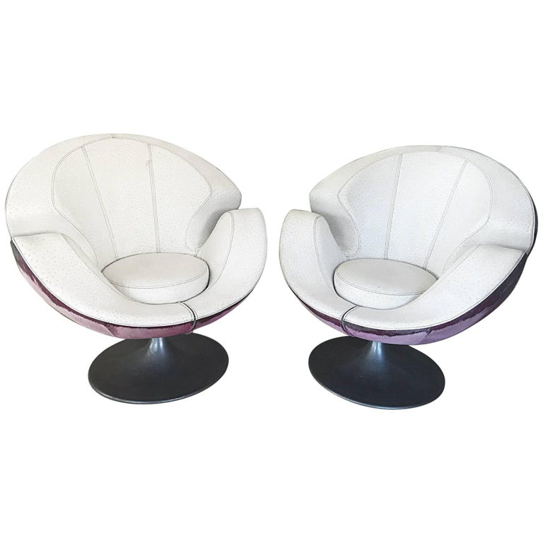 Swivel pair of Chairs Scandinavian design 1960, Unique design