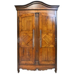 18th Century Country French Armoire in Walnut with Arched Bonnet
