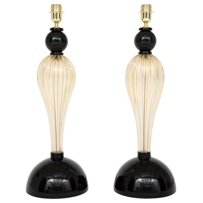 Pair of Tall Italian Gold and Black Murano Glass Lamps, Signed