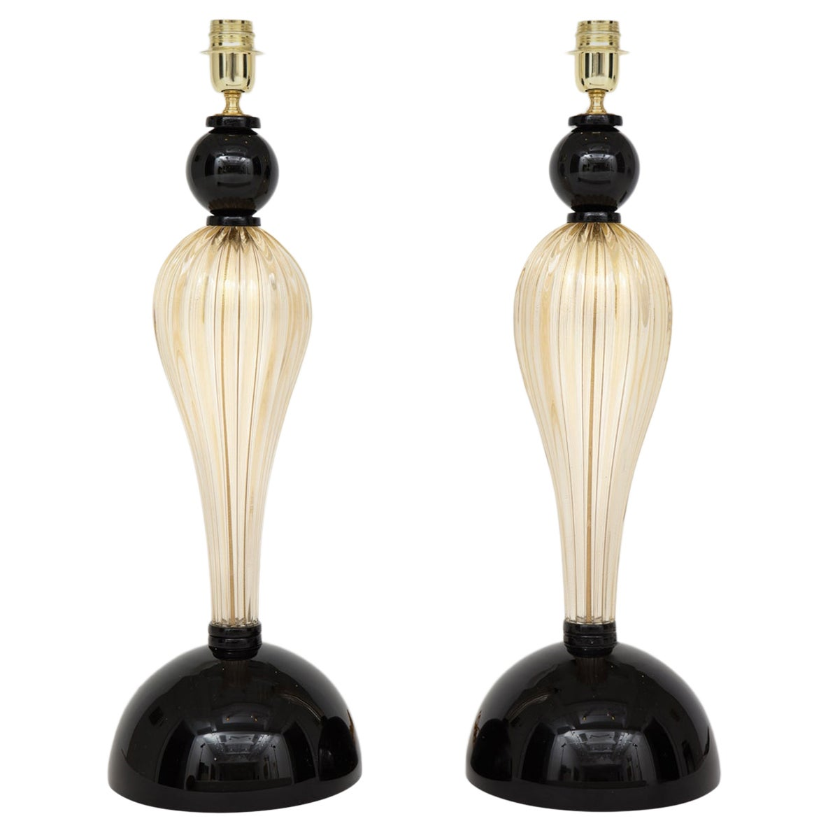 Pair of Tall Gold and Black Murano Glass Lamps, Signed, Italy