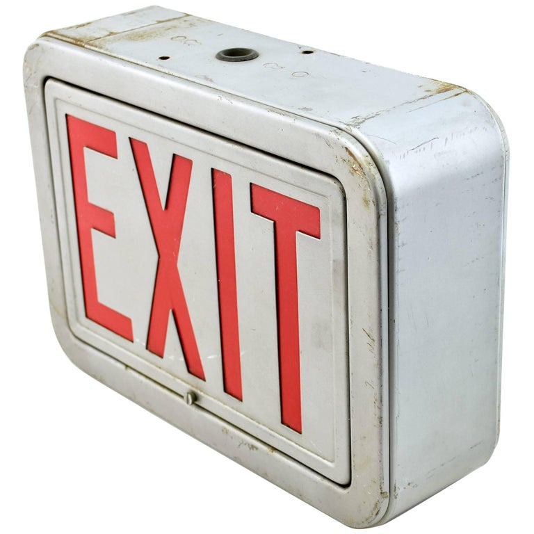Industrial Steel Exit Sign, Quantity Available For Sale