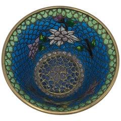 19th Century French Plique a Jour Cloisonné Mosaic Bowl with Floral Motif