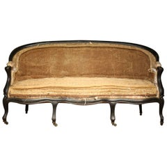 19th Century Napoleon III Ebonized Six Legged Sofa