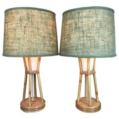 Original Pair of Paul Frankl Style Bamboo Tiki Modern Table Lamps