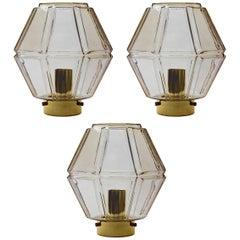 Three 1970s Vintage Geometric Topaz / Smoked Glass Flush Mount Lights by Limburg
