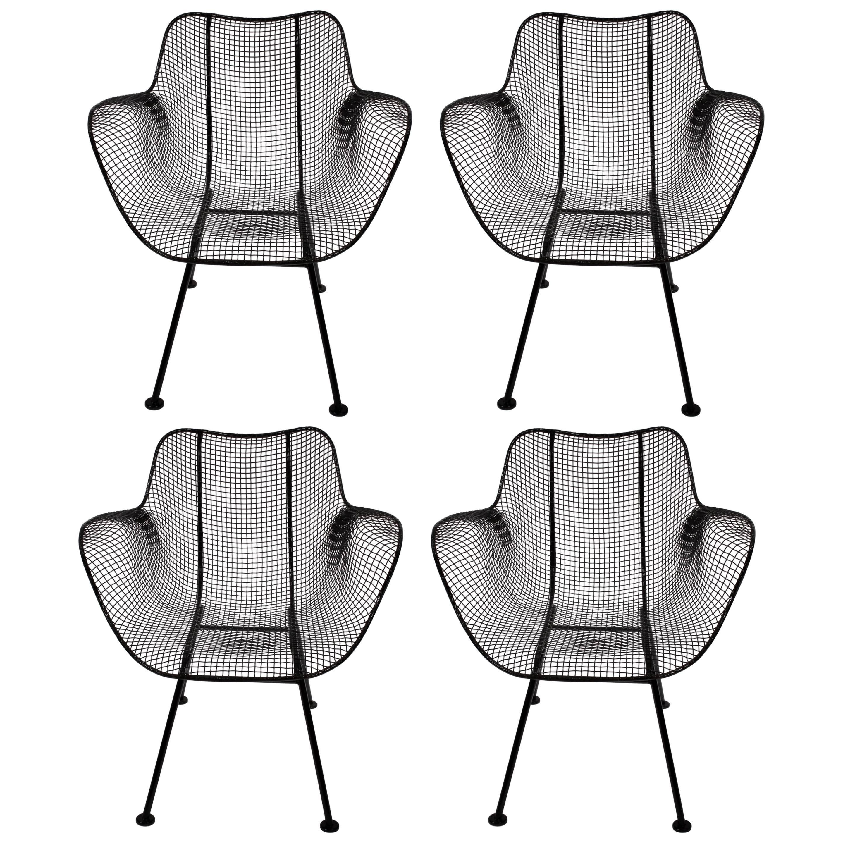 Set of Four Russell Woodard Sculptura Black Iron Mesh Dining Armchairs, 1950s