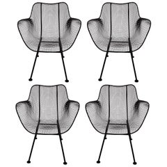 Set of Four Russell Woodard Sculptura Black Iron Mesh Dining Armchairs, 1950s