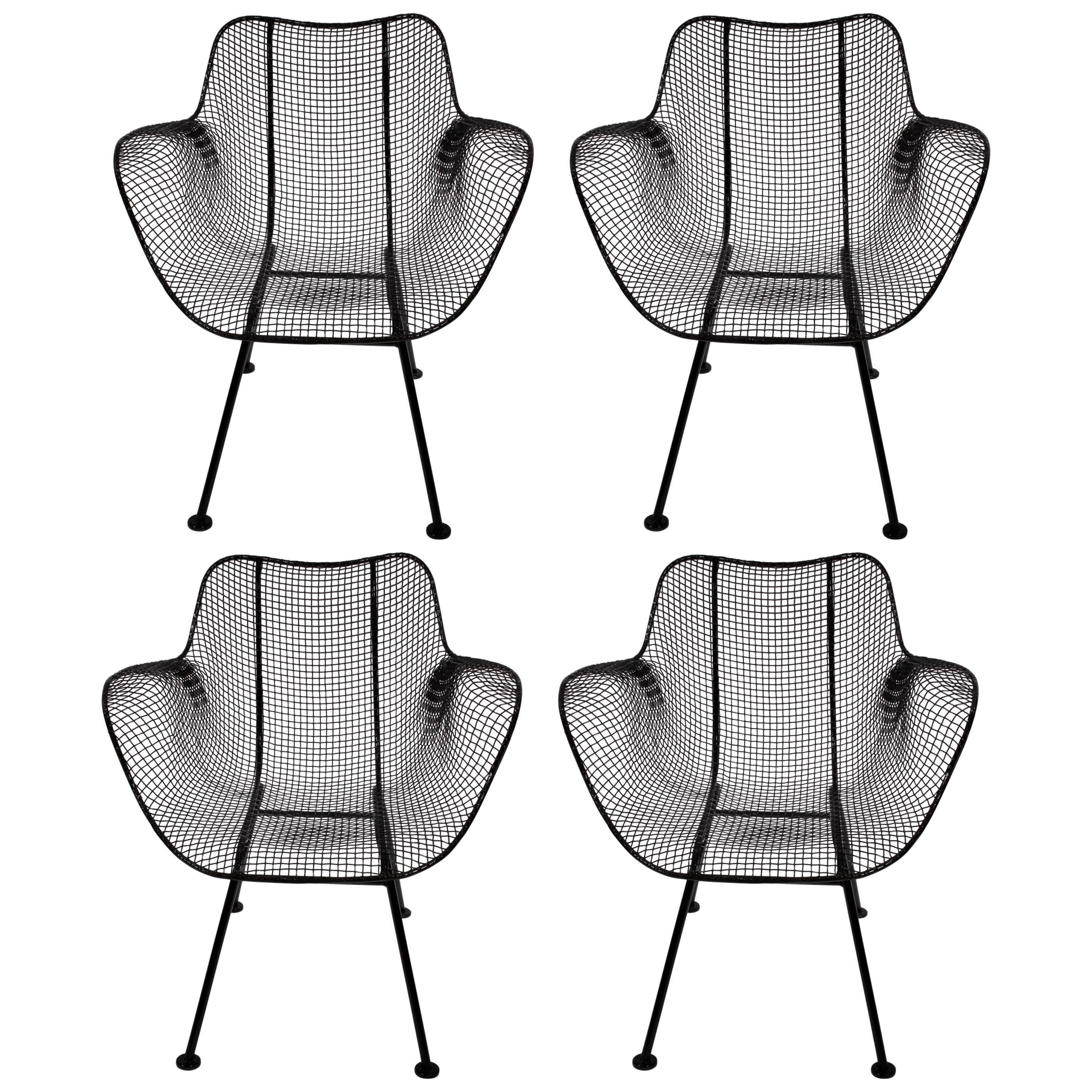 1950s Set Of Four Russell Woodard Sculptura Black Iron Mesh Dining Armchairs