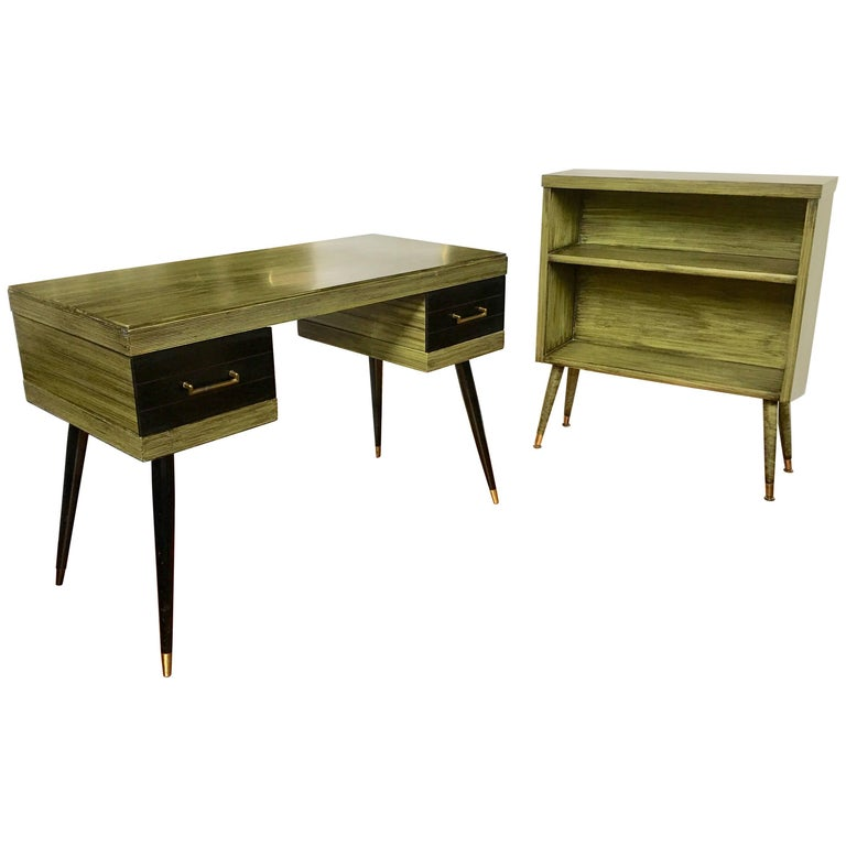 Mid-Century Modern Ico Parisi Style Desk and Bookcase Set For Sale