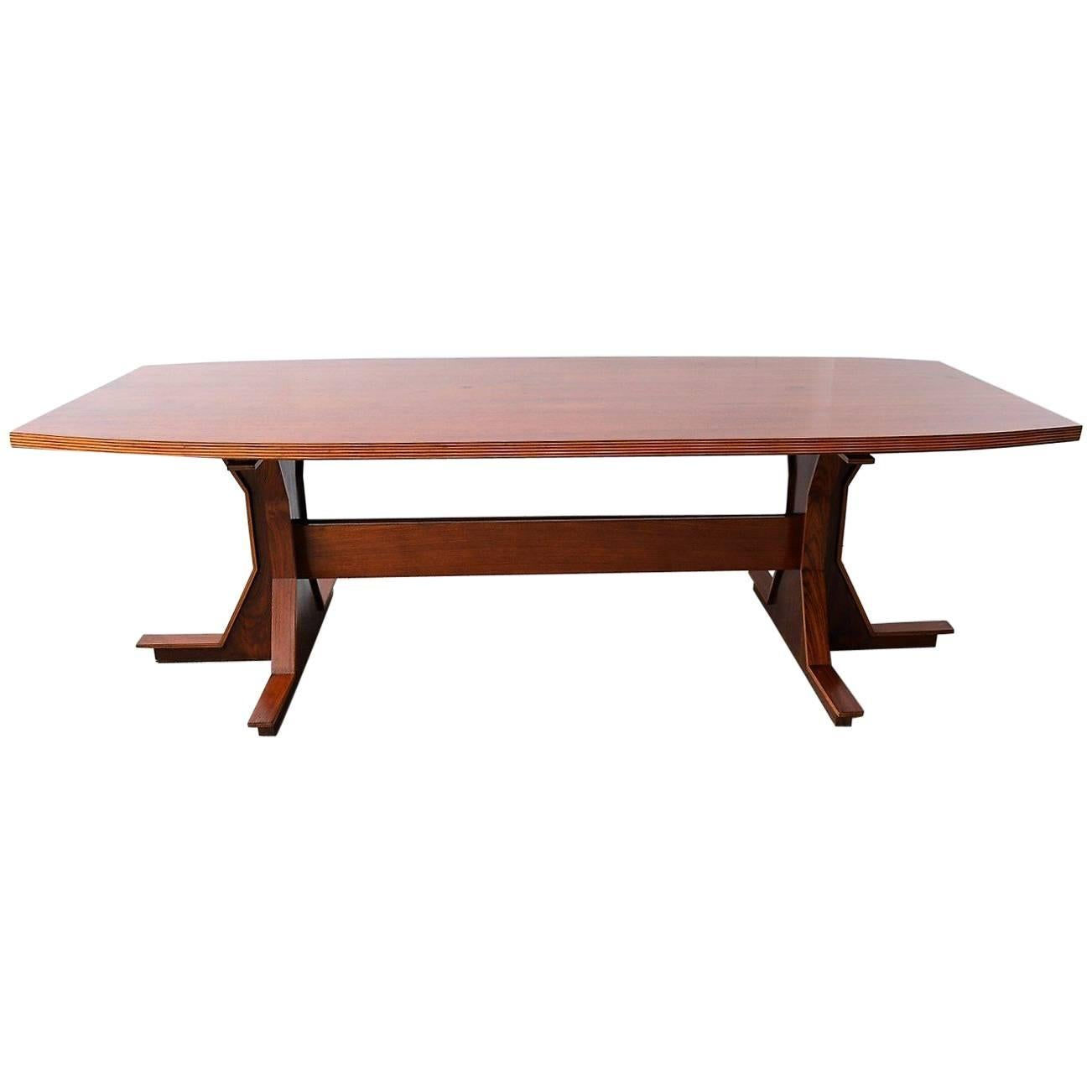 Midcentury Italian Rosewood Dining Or Conference Table, 1950s