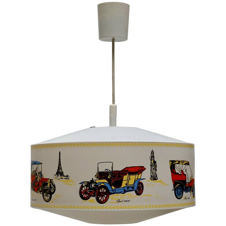 Pendant Light Decorated with Oldtimers For Sale