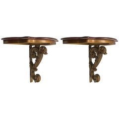 Pair of Italian Giltwood Marble-Top Demilune Console Tables