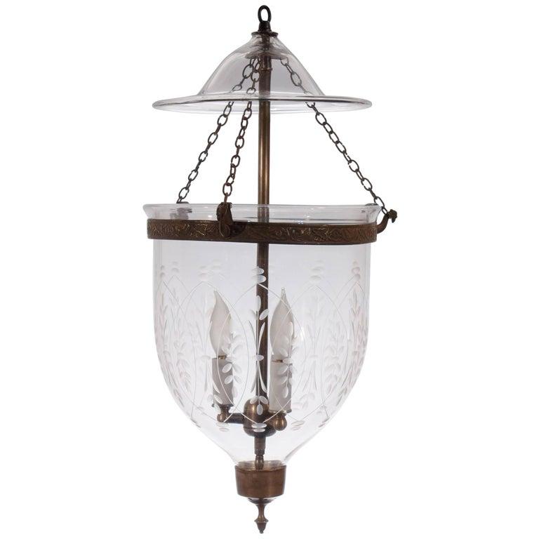 19th Century English Bell Jar Lantern with Wheat Etching