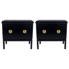 Pair of Black Lacquer and Brass Cabinets Attributed to James Mont