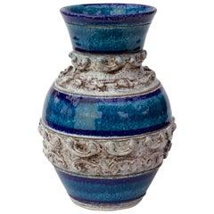 Midcentury Blue Italian Ceramic Vase by Fratelli Fanciullacci, circa 1960