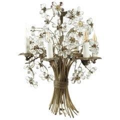 Bronze and Crystal Chandelier Designed as a 'Basket of Flowers'