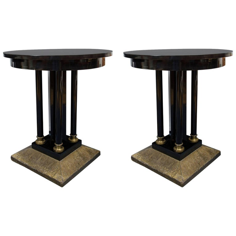 Pair of Austrian Secessionist Period Pedestal Side Tables For Sale