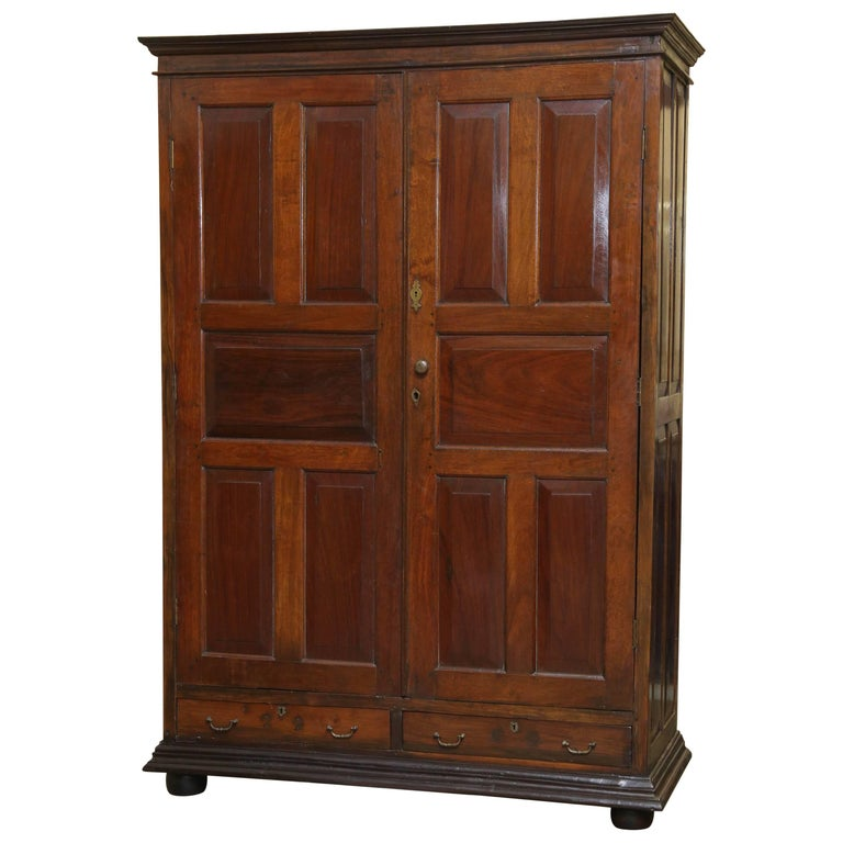 early 19th century mahogany armoire from british colonial. Black Bedroom Furniture Sets. Home Design Ideas