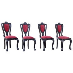 Four 1850s Solid Ebony Side Chairs from Sri Lanka