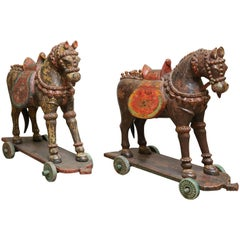 Pair of Late 19th Century Solid Wood Horses from a Temple in Bhutan