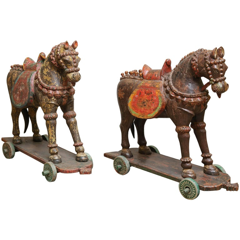 Pair of Late 19th Century Solid Wood Horses from a Temple in Bhutan For Sale