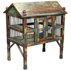 Antique Teak Wood and Iron Bird Cage from a Community Farm in Central India